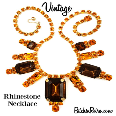 Vintage Rhinestone Necklace Large Statement Piece Beautiful Autumn Colors