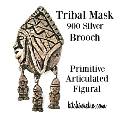 Tribal Mask Brooch 900 Silver Primitive Articulated Figural at bitchinretro.com