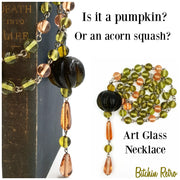 Pumpkin or acorn squash art glass necklace at bitchinretro.com