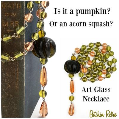 Art Glass Pumpkin Pendant and Beaded Necklace  Avocado Green Salmon Pink