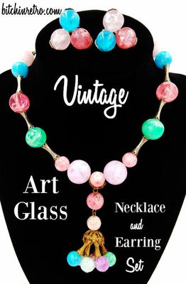 Vintage Art Glass Beaded Necklace and Earrings Set Tassel Drop Pastel Colors