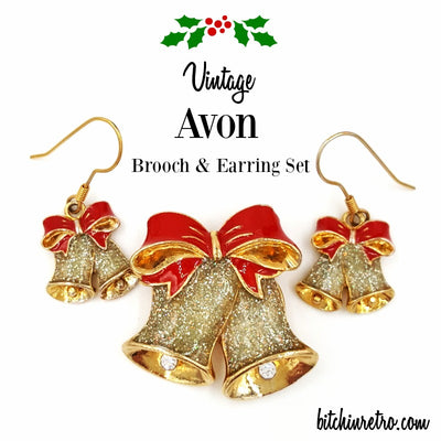 Vintage Avon Gold and Glitter Bell Holiday Brooch and Earring Set