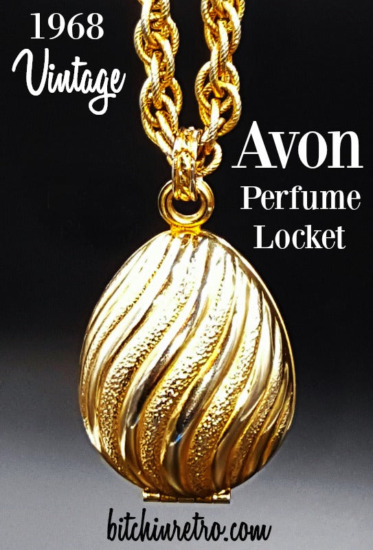 Avon Vintage 1968 Golden Charmer Perfume Locket with Necklace and Bracelet
