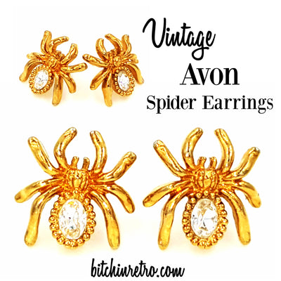 Avon Spider Rhinestone Earrings at bitchinretro.com