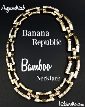 Banana Republic Necklace Bamboo Chain Links in Graduated Sizes Organic Style