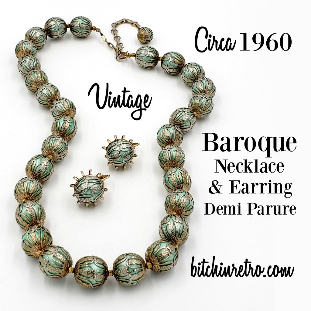 Baroque Vintage Necklace & Earring Set at bitchinretro.com