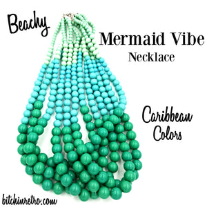 Beachy Mermaid Vibe Necklace in Caribbean Colors at bitchinretro.com