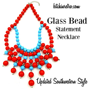 Glass Bead Statement Necklace With Updated Southwestern Style at bitchinretro.com