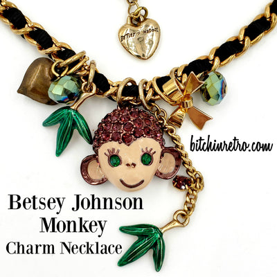Betsey Johnson Monkey Charm Necklace at bitchinretro.com