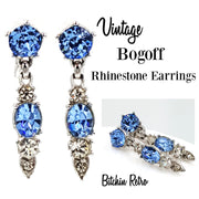Bogoff Vintage Rhinestone Earrings with Drop Style and Holiday Sparkle