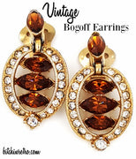 Bogoff Vintage Earrings with Topaz and Clear Rhinestones Art Deco Style