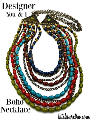 You and I Bohemian Necklace with 9 Strands of Beads and Chains in Autumn Hues
