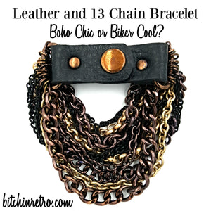 Boho Chic and Biker Cool Leather and 13 Chain Bracelet at bitchinretro.com