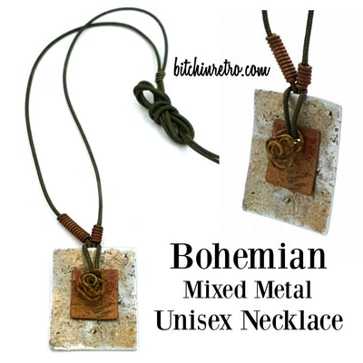 Bohemian Mixed Metal Unisex Necklace at bitchinretro.com