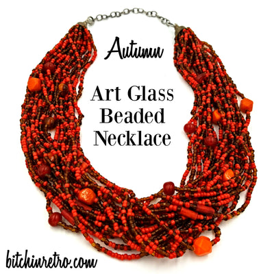 Autumn Art Glass Beaded Necklace at bitchinretro.com