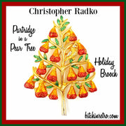 Christopher Radko Partridge In A Pear Tree Holiday Brooch at bitchinretro.com
