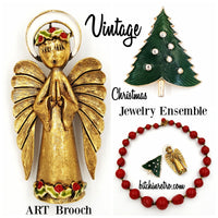 Vintage Jewelry Collection, ART Angel & Christmas Tree Pins, Beaded Necklace