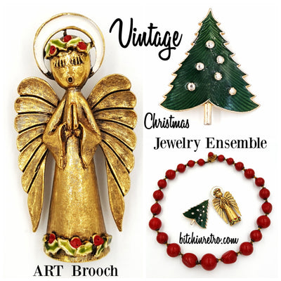 Art Angel Brooch With Christmas Tree Pin and Beaded Necklace at bitchinretro.com