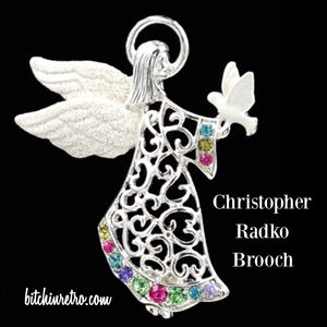 Christopher Radko Rhinestone Angel Brooch at bitchinretro.com
