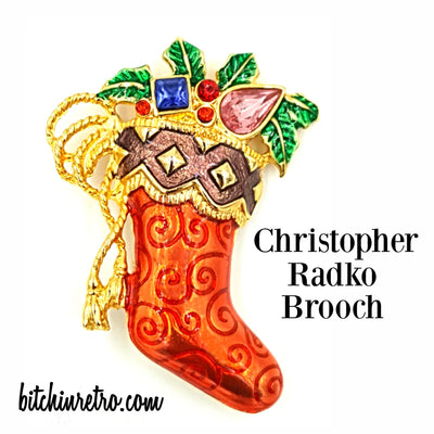 Christopher Radko Christmas Stocking Brooch at bitchinretro.com