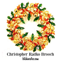 Christopher Radko Christmas Wreath Brooch at bitchinretro.com