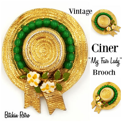 Ciner Vintage My Fair Lady Straw Hat Brooch at bitchinretro.com