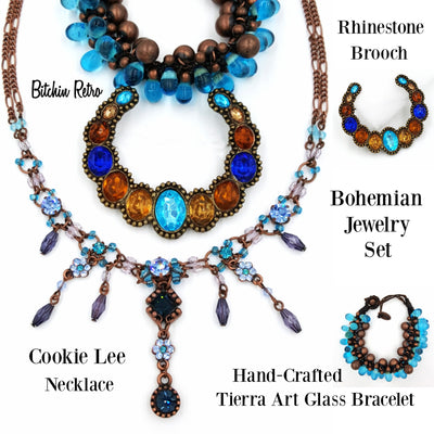 Cookie Lee Rhinestone Necklace with Tierra Art Glass Bracelet and Pin