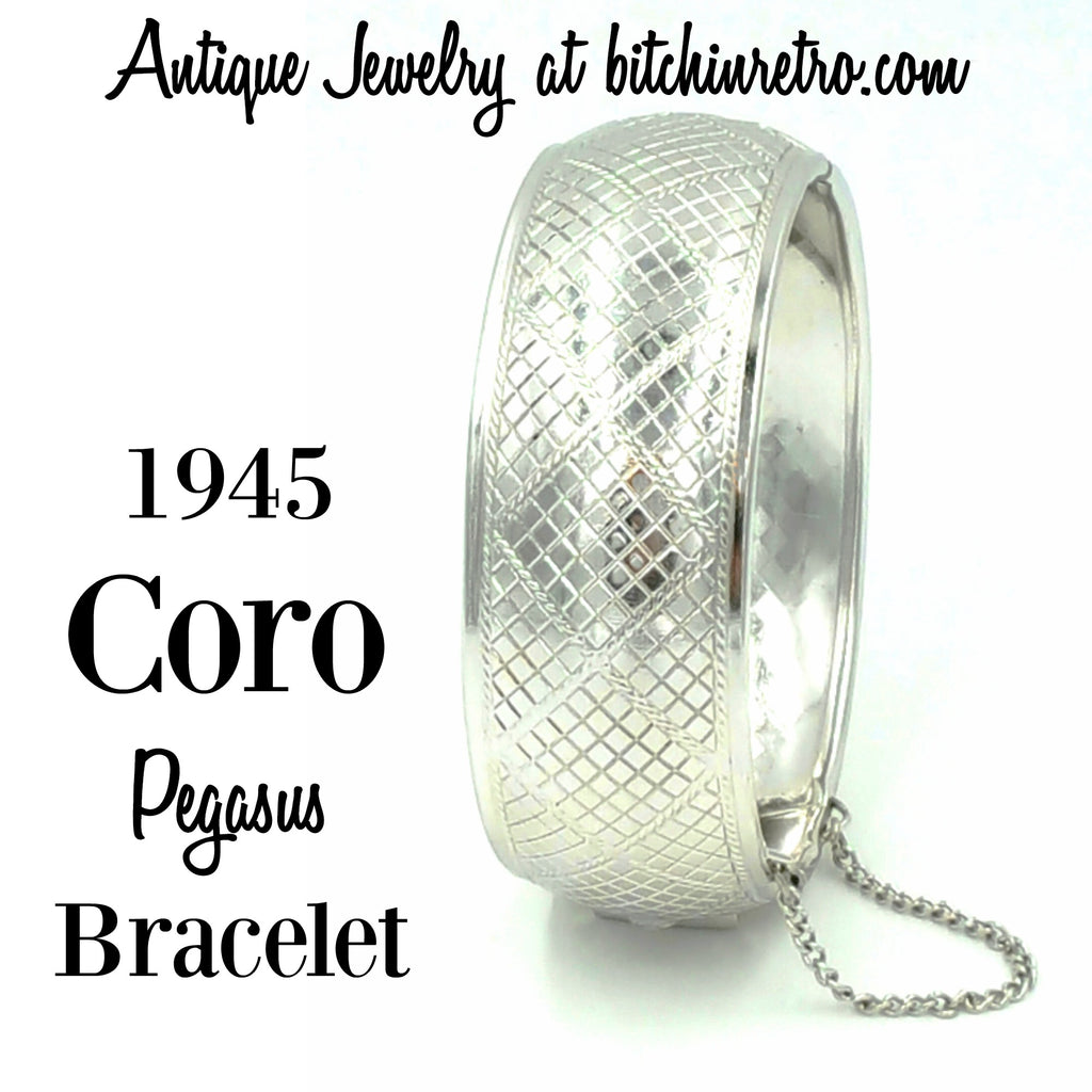 1945 Coro Pegasus Bracelet Antique Jewelry at bitchinretro.com