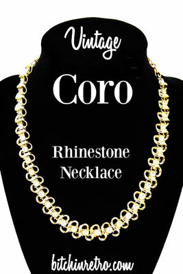 Coro Vintage Rhinestone Necklace  Beautiful Bridal Piece  Loads of Fire and Ice