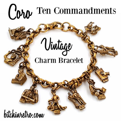 Coro Ten Commandments Vintage Charm Bracelet at bitchinretro.com