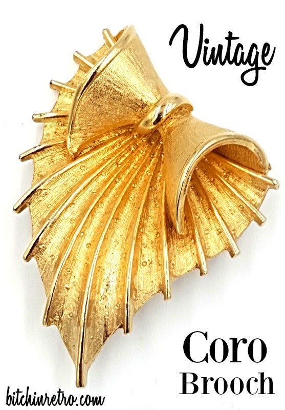 Coro Vintage Brooch With Scalloped Edges and Mid Century Modern Style