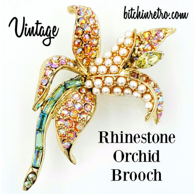 Vintage Orchid Rhinestone Brooch at bitchinretro.com