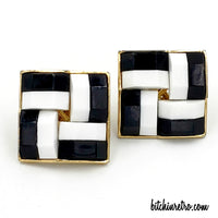 Crown Trifari Vintage Checkerboard Earrings at bitchinretro.com