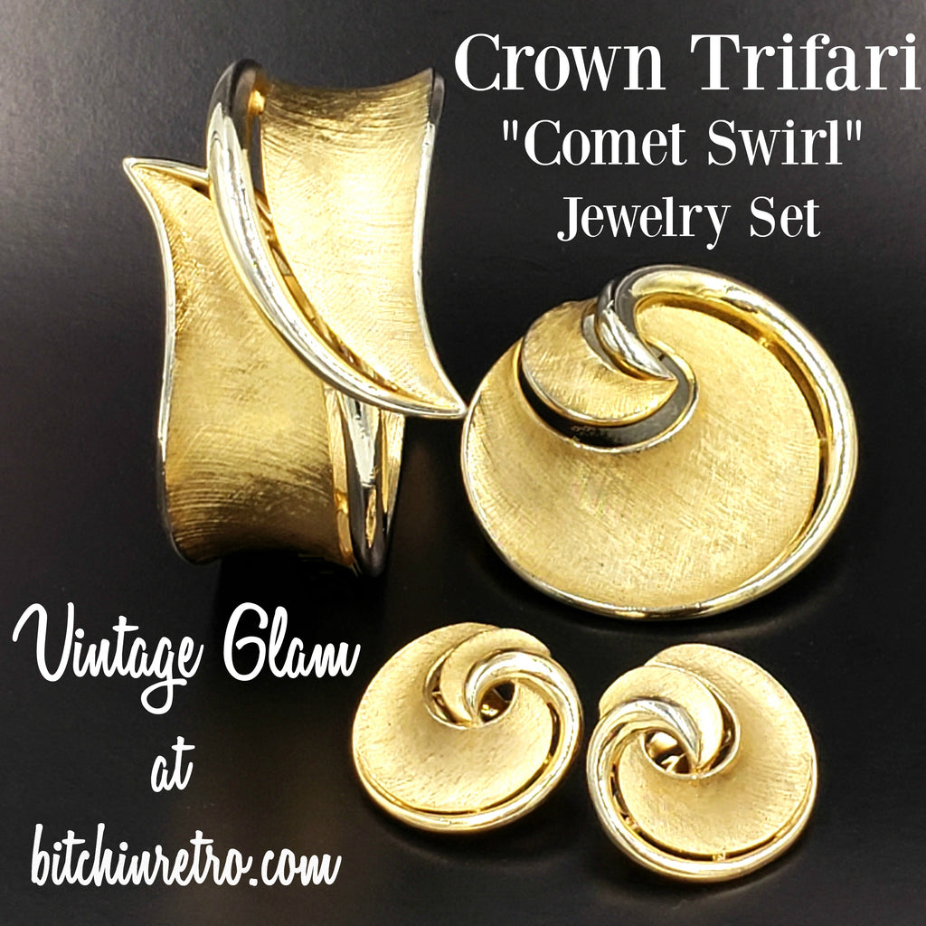 Crown Trifari Comet Swirl Jewelry Set Vintage Glam at bitchinretro.com