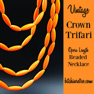 Vintage Crown Trifari Opera Length Beaded Necklace at bitchinretro.com