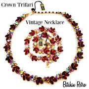 Crown Trifari Vintage Rhinestone Necklace with Original Tags