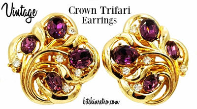 Crown Trifari Vintage Earrings Royal Purple Rhinestones Retro Style