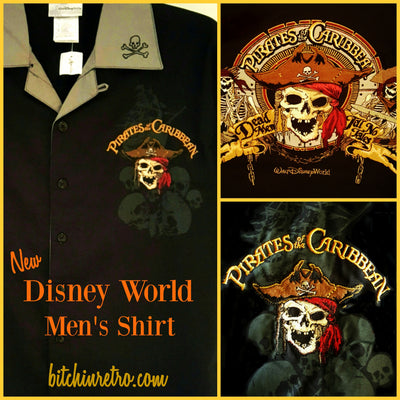Disney Pirates of The Caribbean Shirt Embroidered Button Down Men's Small New