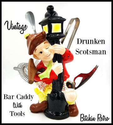 Drunken Scotsman Vintage Bar Tool Caddy with Kitschy Barware Set