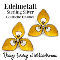 Edelmetall Sterling Silver and Guilloche Enamel Earrings at bitchinretro.com