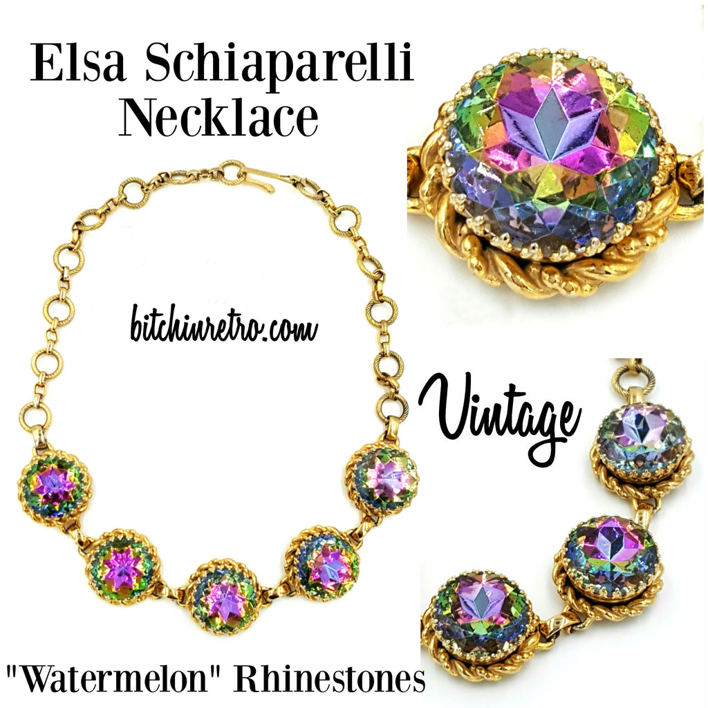 Elsa Schiaparelli Vintage Rhinestone Necklace at bitchinretro.com