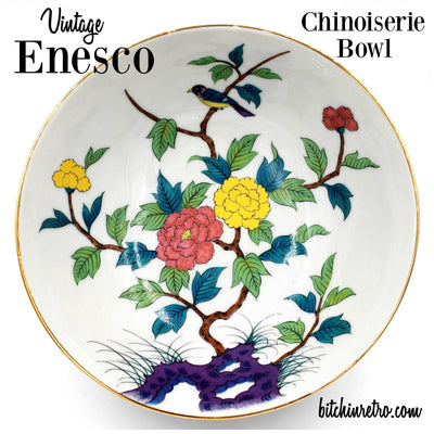Enesco Japan Chinoiserie Bowl With Colorful Floral Design