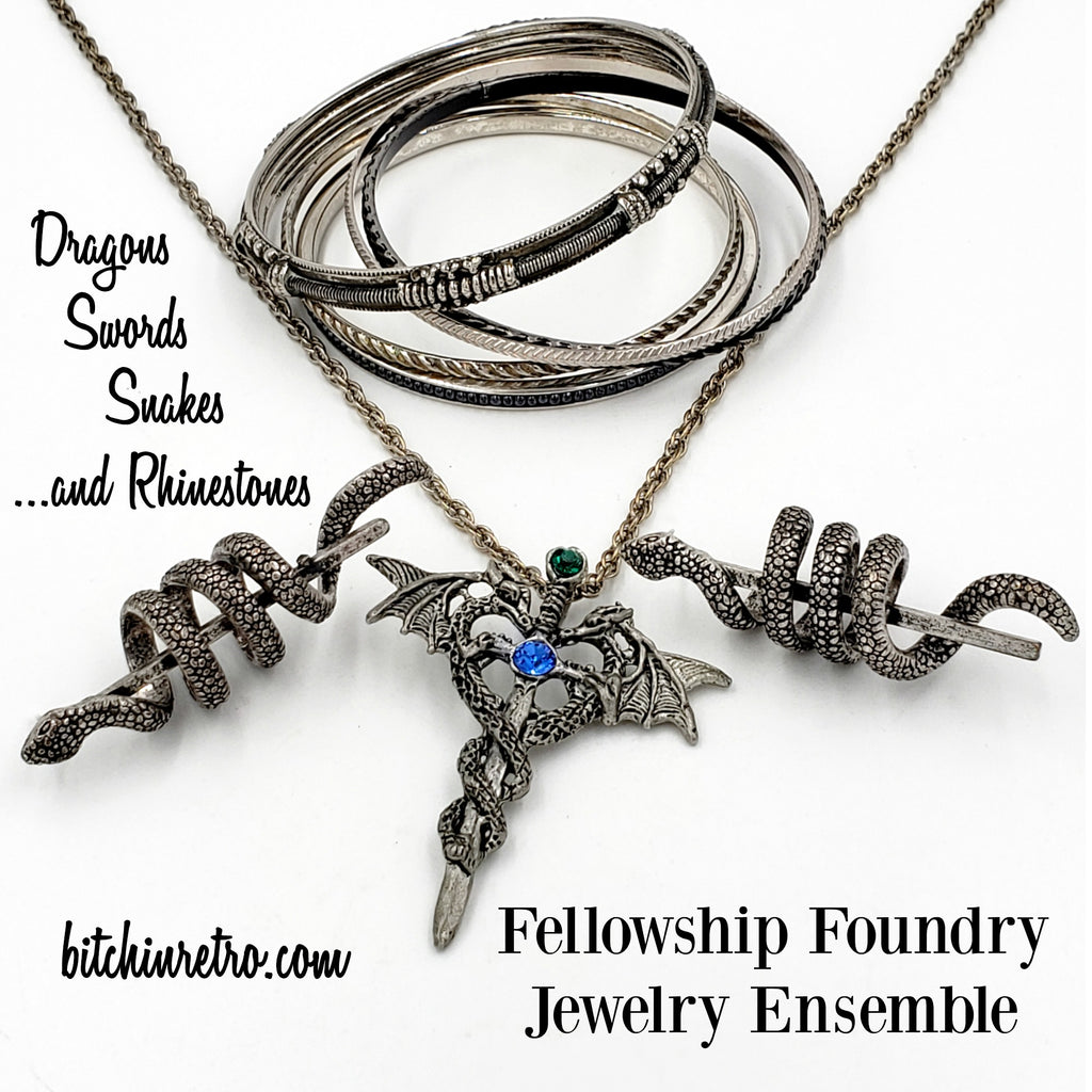 Fellowship Foundry Jewelry Ensemble With Dragons and Snakes at bitchinretro.com