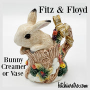 Fitz and Floyd Snowy Woods Bunny Creamer or Vase at bitchinretro.com