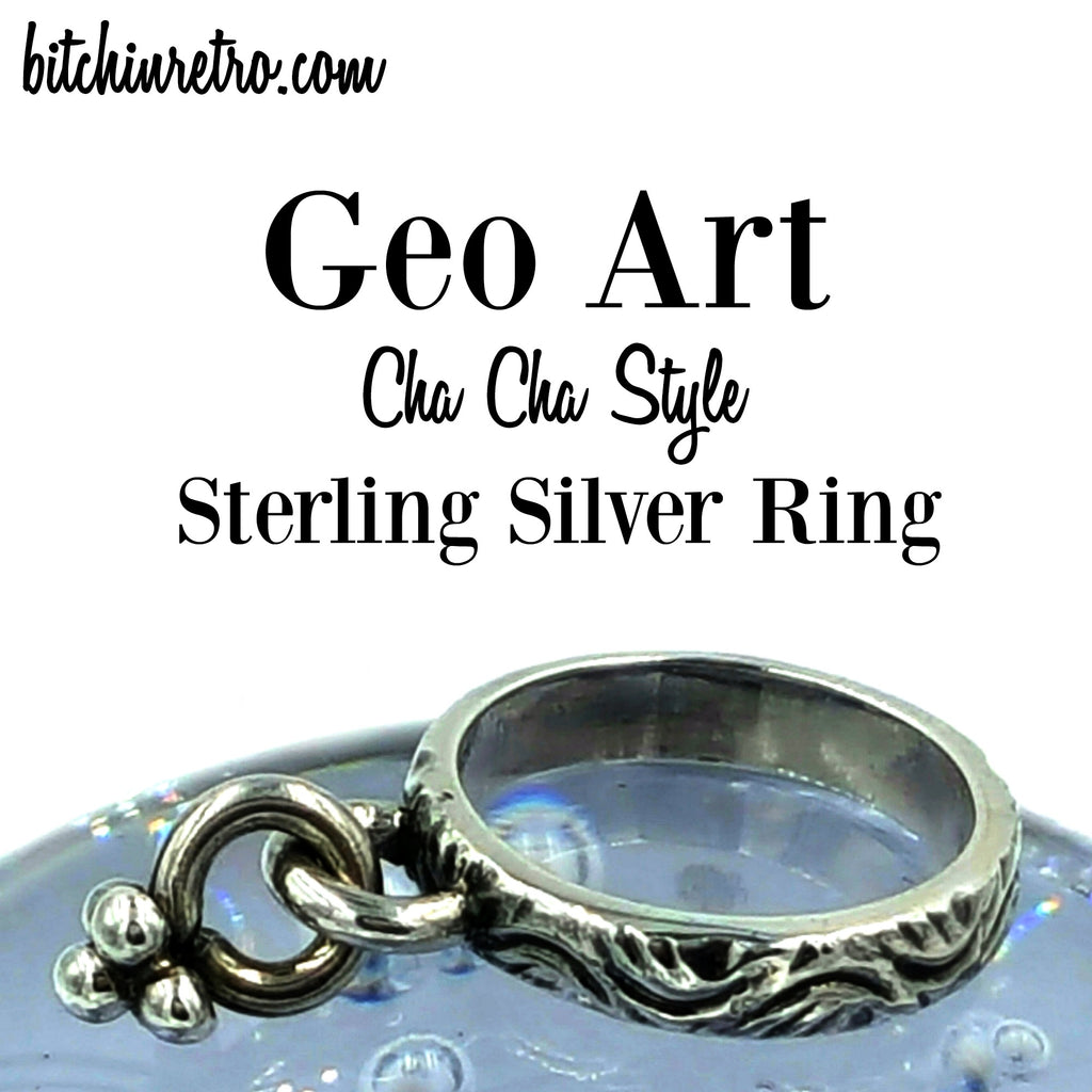 Geo Art Cha Cha Sterling Silver Ring at bitchinretro.com
