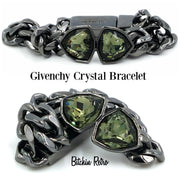 Givenchy Crystal Bracelet  With Chain Links and Icy Pale Green Crystals