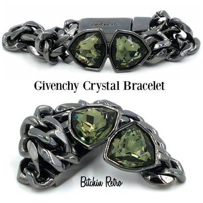 Givenchy Bracelet With Chain Links and Icy Pale Green Crystals