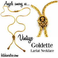 Goldette Vintage Necklace Angel Pendant Lariat or Bolo Style Victorian Flair