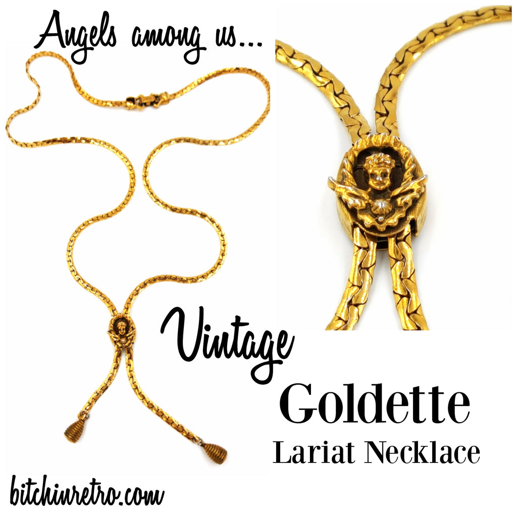 Goldette Angel Vintage Lariat Necklace at bitchinretro.com