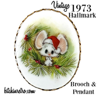 1973 Hallmark Vintage Christmas Mouse Brooch and Pendant
